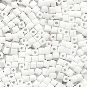 4mm Miyuki Square: 402 - Opaque White