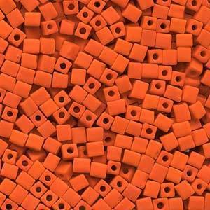 4mm Miyuki Square: 406F - Opaque Frosted Orange
