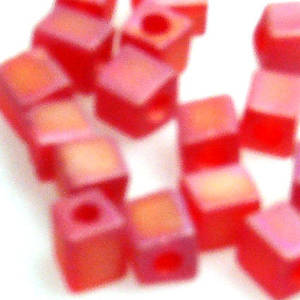 4mm Miyuki Square: R140F - Red Rainbow Frosted