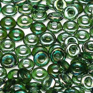 Czech O Bead - Emerald Celsian