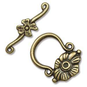 NEW! Toggle: Deco flower - antique brass