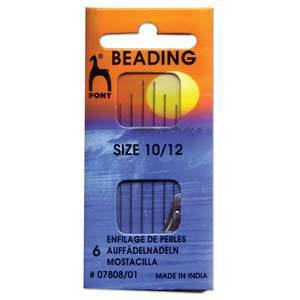 Pony Beading Needles, 6 pack: Size 10/12