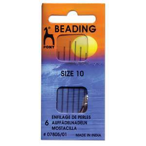 Pony Beading Needles, 6 pack: Size 10.