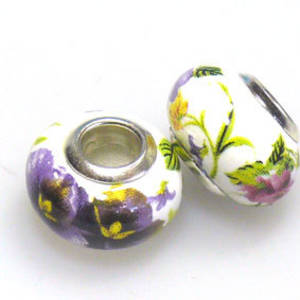 Pandora Style Porcelain Bead, Purple, Pink, Yellow and Green Floral