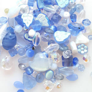 Pressed Glass Bead MIX: Lighter blues/clears