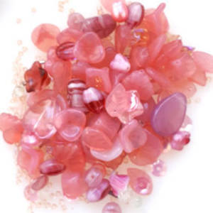 NEW! Pressed Glass Bead MIX: Opaque Pinks