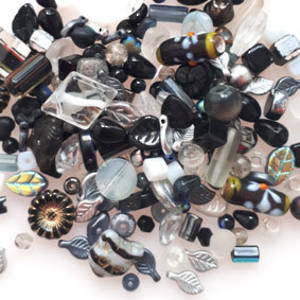 CLEARANCE: Pressed Glass Bead MIX: Blacks