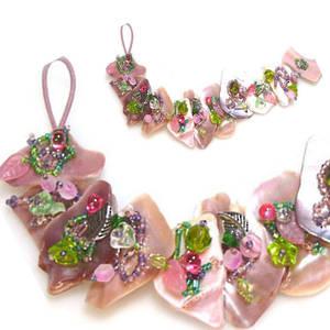 Pink Mussel Bracelet Kitset, pinks/greens, med/large pieces
