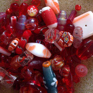 CLEARANCE Pressed Glass Bead MIX: Reds