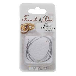 NEW! Medium French Wire (Gimp): Grey (Antique Silver)