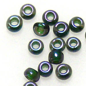Toho size 11 round: 338B - Forest Green, transluscent