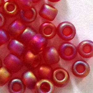 Matsuno size 11 round: F254A - Frosted Red AB