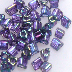Miyuki size 10 triangle: 319C - Purple Blue Iris, transluscent