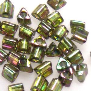 Miyuki size 10 triangle: 319D - Dark Greeny/Pink Iris, transluscent