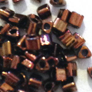 Miyuki size 10 triangle: 460F - Metallic Deep Bronzey Brown