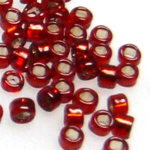 Miyuki size 15 round: 11A - Dark Red, silver lined