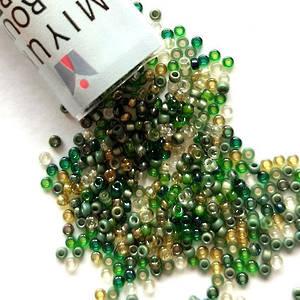 NEW! Miyuki size 15 round: MIX 57 - Olive Leaf