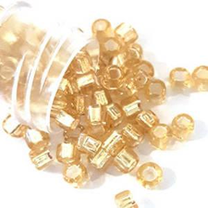 Miyuki size 6 round: 3 - Light Gold, silver lined