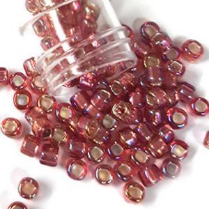 Miyuki size 6 round: 640C - Rose Pink AB, silver lined