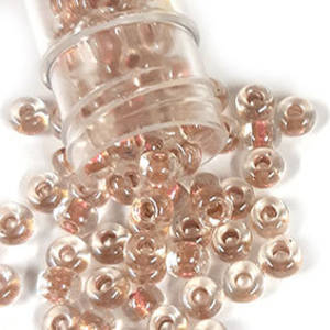 Miyuki size 6 round: 760 - Peach Gold Shimmer/Clear, colour lined