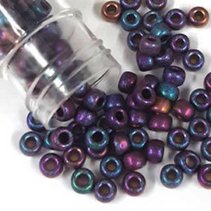 Miyuki size 6 round: F460T - Frosted Burgandy/Purple/Blue Iris