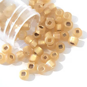 Miyuki size 6 round: F634 - Frosted Gold shimmer. silver lined
