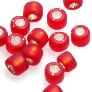 Matsuno size 8 round: F11 - Frosted Red, silver lined