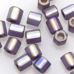Miyuki size 8 hex: F639 - Frosted Purple Grey shimmer, silver lined