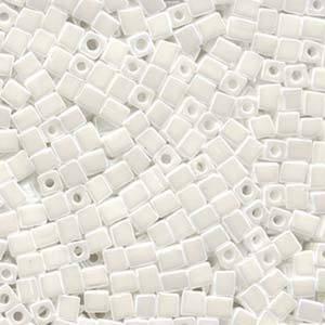 4mm Miyuki Square: 402F - Matte Opaque White
