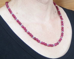 KITSET: Simple Semi Precious Necklace - Pink Jade (dyed)