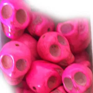 Howlite Skull: Large - Fuchsia Pink