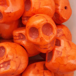 Howlite Skull: Large - Light Orange
