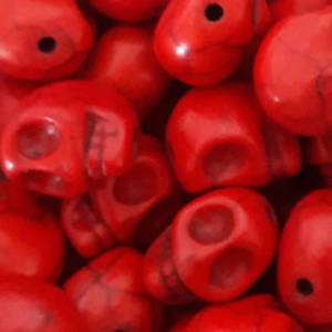 Howlite Skull: Small - Red