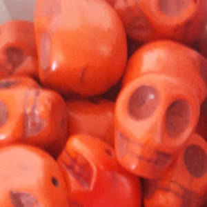 Howlite Skull: Large - Orange