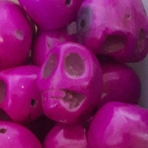 Howlite Skull: Large - Bright Purple