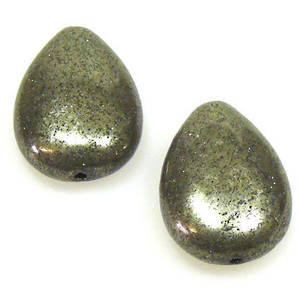 Iron Pyrite, flat drop, 13mm x 17mm