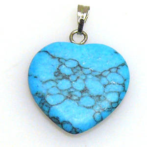 Blue Howlite, 19mm heart with silver bail attached