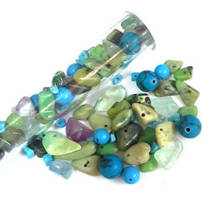 NEW! Semi-Precious Chip/Bead Mix - Peacock (tall tube)