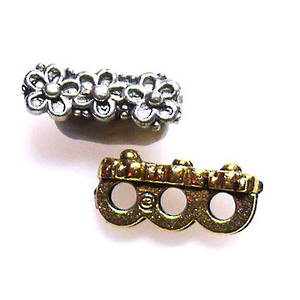 Spacer Bar, three holes with flower pattern