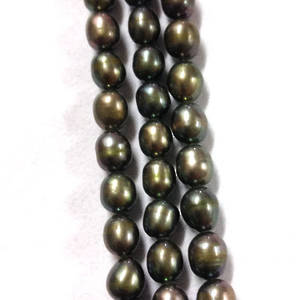 NEW! 40cm Freshwater Pearl Strand: Dark Greeny Grey oval, 5 x 4mm