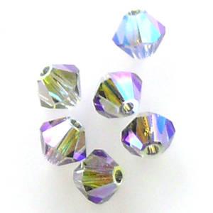 6mm Swarovski Crystal Bicone, Black Diamond AB 2x