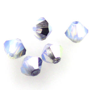 4mm Swarovski Crystal Bicone, White Opal Star Shine