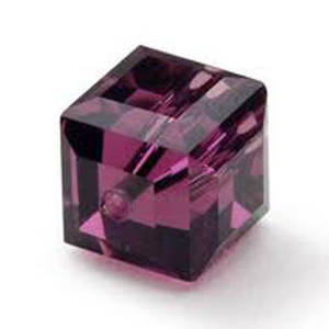 4mm Swarovski Crystal Cube, Amethyst