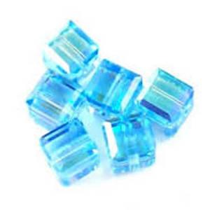 4mm Swarovski Crystal Cube, Aqua AB