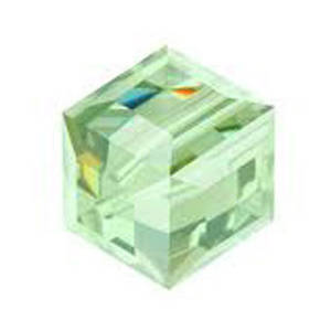 6mm  Swarovski Crystal Cube, Chrysolite
