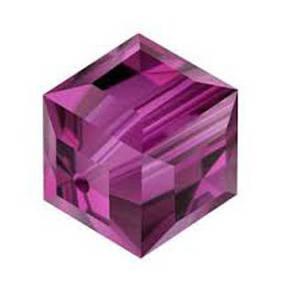 8mm Swarovski Crystal Cube, Fushia