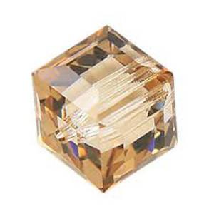 4mm Swarovski Crystal Cube, Crystal Golden Shadow