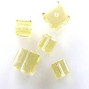 4mm Swarovski Crystal Cube, Jonquil