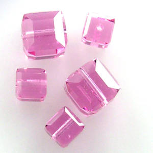 6mm Swarovski Crystal Cube, Rose AB