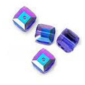 4mm Swarovski Crystal Cube, Sapphire AB